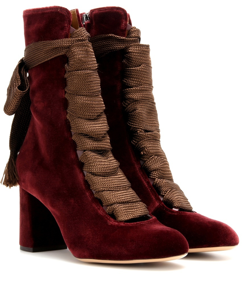 Harper Velvet Boots - predominant colour: burgundy; occasions: casual; material: velvet; heel height: mid; heel: block; toe: round toe; boot length: ankle boot; style: standard; finish: plain; pattern: plain; season: a/w 2016