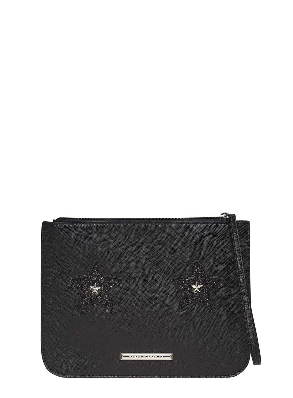 Womens Star Eye Clutch Bag Black - predominant colour: black; occasions: casual, creative work; type of pattern: standard; style: clutch; length: hand carry; size: small; material: leather; pattern: plain; finish: plain; season: a/w 2016