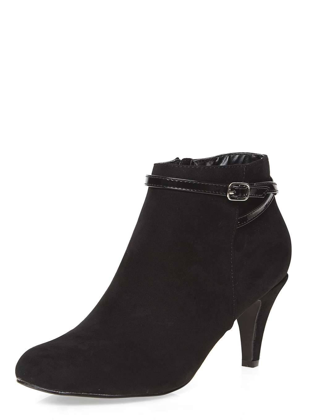 Womens Black 'alby' Buckle Boots Black - predominant colour: black; occasions: casual; material: faux leather; heel height: mid; heel: cone; toe: round toe; boot length: ankle boot; style: standard; finish: plain; pattern: plain; wardrobe: basic; season: a/w 2016