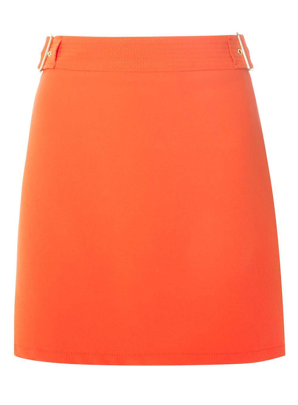 Womens Red Topstitch A Line Skirt Red - length: mini; pattern: plain; fit: body skimming; waist: mid/regular rise; predominant colour: coral; occasions: casual; style: mini skirt; fibres: polyester/polyamide - stretch; pattern type: fabric; texture group: woven light midweight; season: a/w 2016; wardrobe: highlight