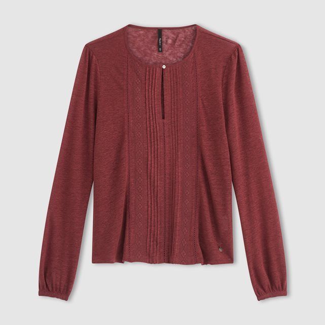 Long Sleeved Linen T Shirt - pattern: plain; predominant colour: burgundy; occasions: casual; length: standard; style: top; fibres: linen - 100%; fit: body skimming; neckline: crew; sleeve length: long sleeve; sleeve style: standard; texture group: linen; pattern type: fabric; season: a/w 2016; wardrobe: highlight