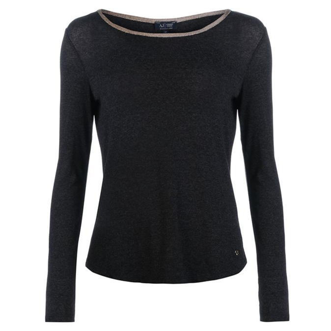 Jersey T Shirt - neckline: round neck; pattern: plain; predominant colour: black; occasions: casual; length: standard; style: top; fibres: viscose/rayon - stretch; fit: body skimming; sleeve length: long sleeve; sleeve style: standard; pattern type: fabric; texture group: jersey - stretchy/drapey; wardrobe: basic; season: a/w 2016