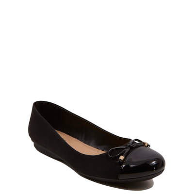 Soft Sole Bow Adorned Ballet Shoes Black - predominant colour: black; occasions: casual; material: faux leather; heel height: flat; toe: round toe; style: ballerinas / pumps; finish: plain; pattern: plain; embellishment: bow; wardrobe: basic; season: a/w 2016