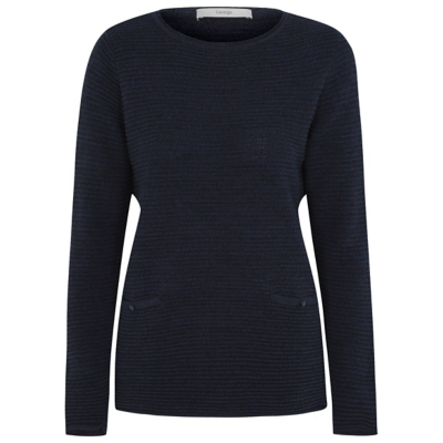 Ripple Stitch Jumper Blue - pattern: plain; style: standard; predominant colour: navy; occasions: casual; length: standard; fibres: acrylic - 100%; fit: standard fit; neckline: crew; sleeve length: long sleeve; sleeve style: standard; texture group: knits/crochet; pattern type: fabric; wardrobe: basic; season: a/w 2016