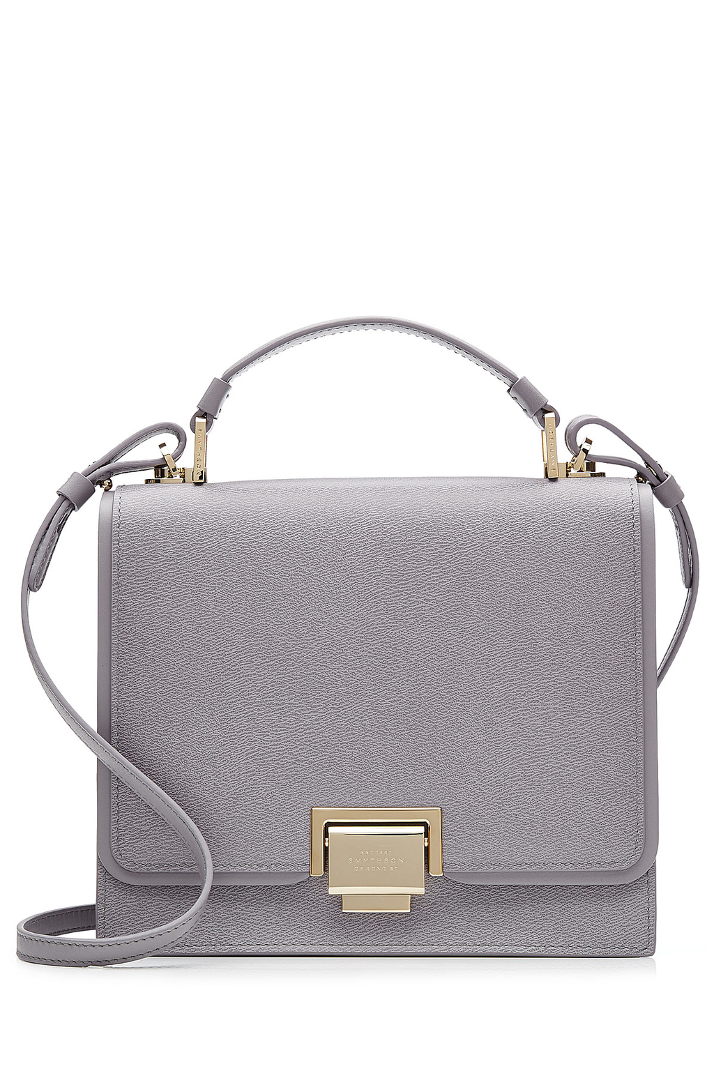 Leather Mini Crossbody Bag Mauve - predominant colour: mid grey; occasions: casual; type of pattern: standard; style: messenger; length: across body/long; size: small; material: leather; pattern: plain; finish: plain; wardrobe: basic; season: a/w 2016