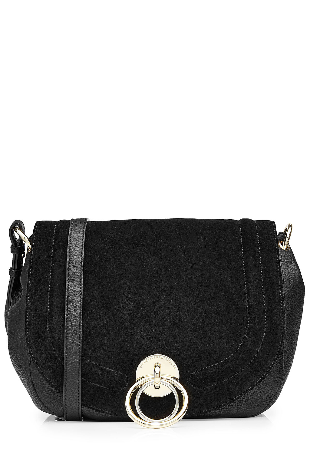 Suede And Leather Shoulder Bag Black - predominant colour: black; occasions: casual, creative work; type of pattern: standard; style: shoulder; length: shoulder (tucks under arm); size: small; material: leather; pattern: plain; finish: plain; wardrobe: investment; season: a/w 2016