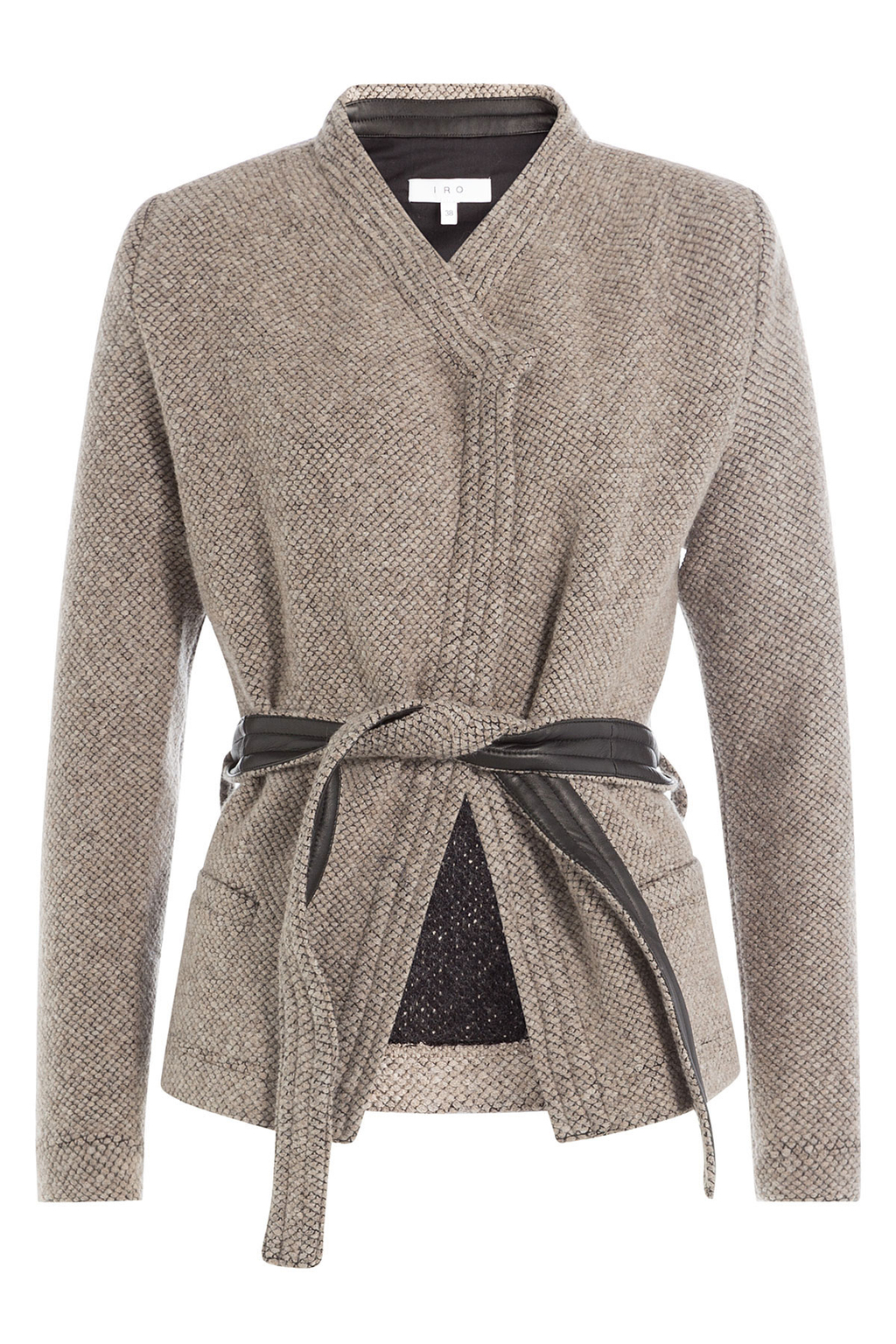 Belted Tweed Jacket Grey - pattern: plain; collar: round collar/collarless; style: boxy; predominant colour: mid grey; occasions: casual; length: standard; fit: straight cut (boxy); fibres: wool - mix; waist detail: belted waist/tie at waist/drawstring; sleeve length: long sleeve; sleeve style: standard; collar break: medium; pattern type: fabric; texture group: tweed - light/midweight; season: a/w 2016