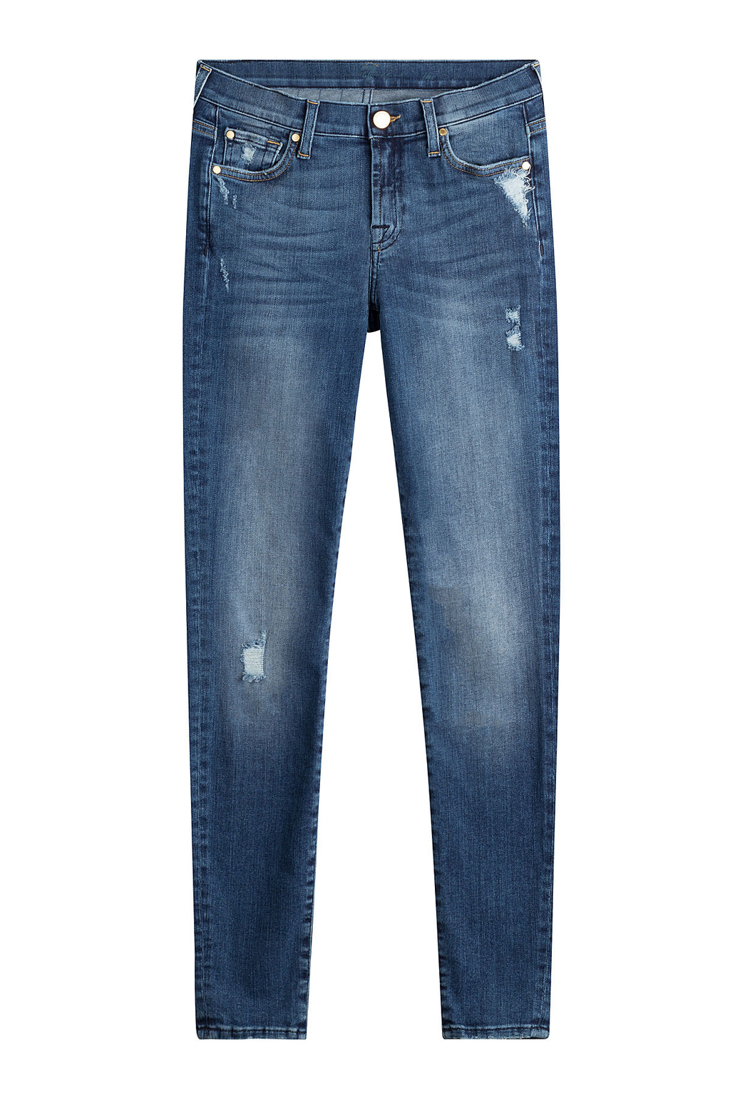 Distressed Skinny Jeans - style: skinny leg; length: standard; pattern: plain; pocket detail: traditional 5 pocket; waist: mid/regular rise; predominant colour: denim; occasions: casual; fibres: cotton - stretch; texture group: denim; pattern type: fabric; jeans detail: rips; wardrobe: basic; season: a/w 2016