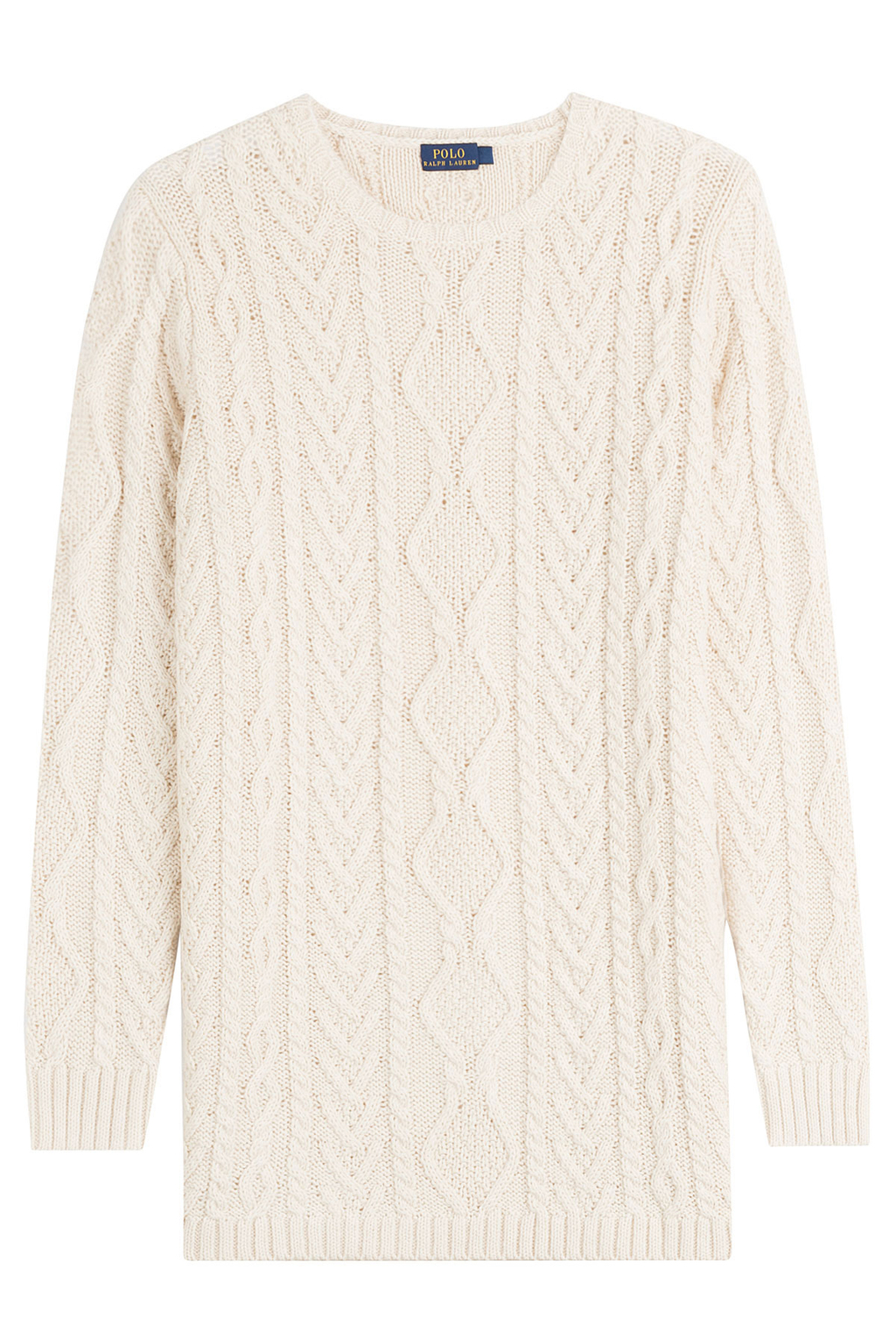 Knit Cotton Pullover - style: standard; pattern: cable knit; predominant colour: white; occasions: casual; length: standard; fibres: cotton - 100%; fit: standard fit; neckline: crew; sleeve length: long sleeve; sleeve style: standard; texture group: knits/crochet; pattern type: knitted - other; season: a/w 2016; wardrobe: highlight