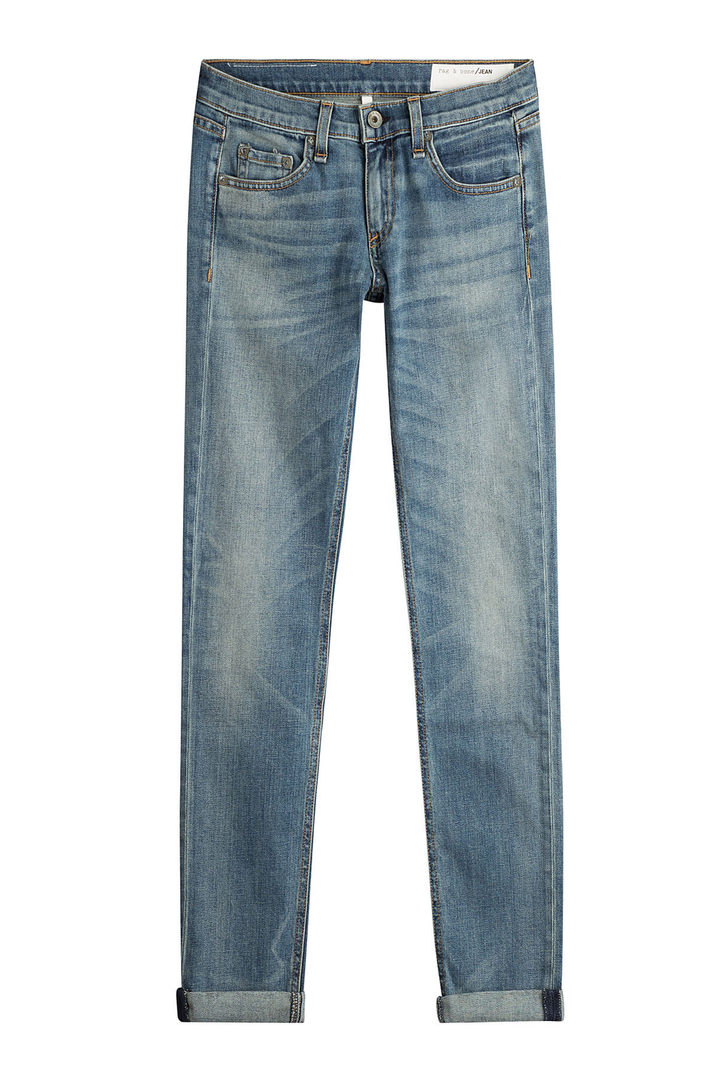 Straight Leg Jeans - style: straight leg; length: standard; pattern: plain; pocket detail: traditional 5 pocket; waist: mid/regular rise; predominant colour: denim; occasions: casual; fibres: cotton - stretch; jeans detail: whiskering, shading down centre of thigh; texture group: denim; pattern type: fabric; pattern size: standard (bottom); wardrobe: basic; season: a/w 2016