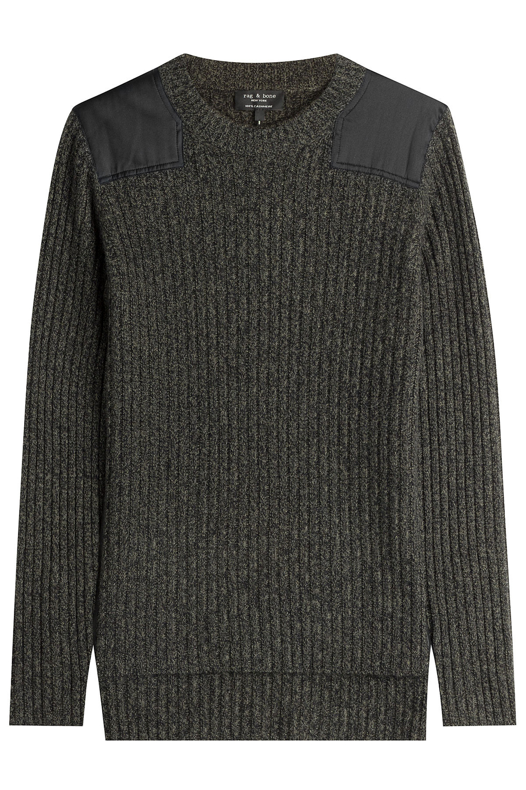 Ribbed Cashmere Pullover - pattern: plain; style: standard; predominant colour: charcoal; occasions: casual; length: standard; fit: standard fit; neckline: crew; fibres: cashmere - 100%; sleeve length: long sleeve; sleeve style: standard; texture group: knits/crochet; pattern type: knitted - other; season: a/w 2016; wardrobe: highlight; embellishment: contrast fabric; embellishment location: shoulder