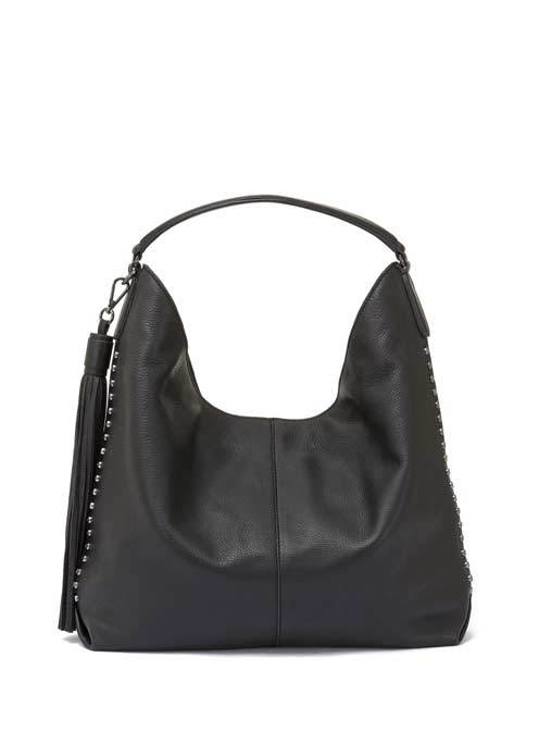 Black Devon Studded Tote Bag - predominant colour: black; occasions: casual, creative work; type of pattern: standard; style: shoulder; length: shoulder (tucks under arm); size: standard; material: leather; pattern: plain; finish: plain; season: a/w 2016