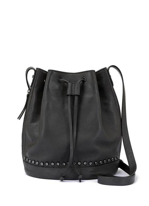 Black Bridget Bucket Bag - predominant colour: black; occasions: casual; type of pattern: standard; style: onion bag; length: shoulder (tucks under arm); size: standard; material: leather; pattern: plain; finish: plain; wardrobe: investment; season: a/w 2016