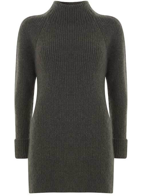 Khaki Ribbed Longline Knit - pattern: plain; neckline: high neck; length: below the bottom; style: tunic; predominant colour: charcoal; occasions: casual; fibres: wool - mix; fit: slim fit; sleeve length: long sleeve; sleeve style: standard; texture group: knits/crochet; pattern type: knitted - other; wardrobe: basic; season: a/w 2016