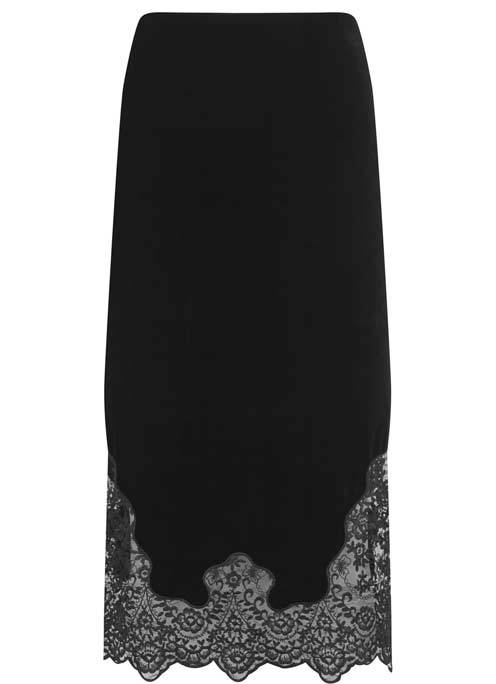 Black Velvet Lace Pencil Skirt - length: below the knee; pattern: plain; style: pencil; fit: body skimming; waist: mid/regular rise; secondary colour: mid grey; predominant colour: black; occasions: evening; pattern type: fabric; texture group: velvet/fabrics with pile; fibres: viscose/rayon - mix; embellishment: lace; multicoloured: multicoloured; season: a/w 2016; wardrobe: event; embellishment location: hem