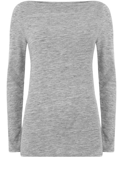 Silver Grey Marl Jersey Tee - neckline: slash/boat neckline; pattern: plain; style: t-shirt; predominant colour: mid grey; occasions: casual; length: standard; fibres: cotton - mix; fit: body skimming; sleeve length: long sleeve; sleeve style: standard; pattern type: fabric; texture group: jersey - stretchy/drapey; season: a/w 2016