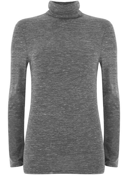 Granite Marl Jersey Polo Neck - pattern: plain; neckline: roll neck; predominant colour: mid grey; occasions: casual; length: standard; style: top; fibres: polyester/polyamide - stretch; fit: body skimming; sleeve length: long sleeve; sleeve style: standard; pattern type: fabric; texture group: jersey - stretchy/drapey; wardrobe: basic; season: a/w 2016