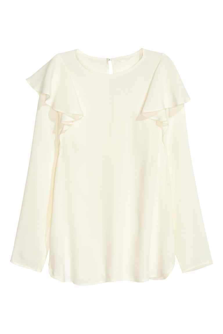 Frilled Blouse - pattern: plain; style: blouse; predominant colour: white; occasions: casual, creative work; length: standard; fibres: viscose/rayon - 100%; fit: body skimming; neckline: crew; shoulder detail: bulky shoulder detail; sleeve length: long sleeve; sleeve style: standard; texture group: sheer fabrics/chiffon/organza etc.; pattern type: fabric; season: a/w 2016; wardrobe: highlight