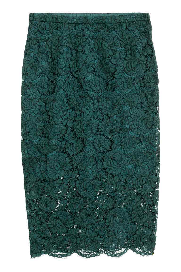Lace Pencil Skirt - style: pencil; fit: tailored/fitted; waist: high rise; predominant colour: dark green; occasions: evening, occasion; length: on the knee; fibres: polyester/polyamide - 100%; waist detail: narrow waistband; texture group: lace; pattern type: fabric; pattern: patterned/print; pattern size: standard (bottom); season: a/w 2016