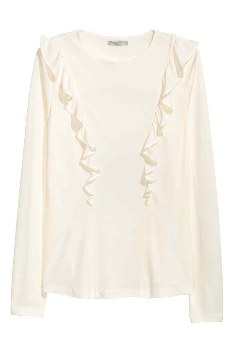 Frilled Top - neckline: round neck; pattern: plain; bust detail: added detail/embellishment at bust; predominant colour: ivory/cream; occasions: casual, creative work; length: standard; style: top; fibres: viscose/rayon - 100%; fit: body skimming; sleeve length: long sleeve; sleeve style: standard; pattern type: fabric; texture group: jersey - stretchy/drapey; season: a/w 2016; wardrobe: highlight
