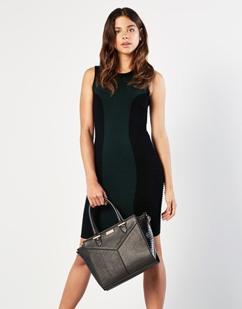 Ripple Dress - fit: tight; sleeve style: sleeveless; style: bodycon; hip detail: draws attention to hips; secondary colour: dark green; predominant colour: black; occasions: evening; length: just above the knee; neckline: crew; sleeve length: sleeveless; texture group: jersey - clingy; pattern type: fabric; pattern: colourblock; fibres: viscose/rayon - mix; multicoloured: multicoloured; season: a/w 2016; wardrobe: event