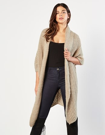 Longline Shrug - pattern: plain; neckline: shawl; style: open front; length: on the knee; predominant colour: stone; occasions: casual; fibres: acrylic - mix; fit: loose; sleeve length: 3/4 length; sleeve style: standard; texture group: knits/crochet; pattern type: knitted - other; season: a/w 2016