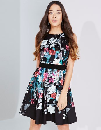 Bouquet Print Fit And Flare Dress - sleeve style: sleeveless; secondary colour: pale blue; predominant colour: black; occasions: evening; length: just above the knee; fit: fitted at waist & bust; style: fit & flare; fibres: polyester/polyamide - stretch; neckline: crew; sleeve length: sleeveless; pattern type: fabric; pattern size: big & busy; pattern: florals; texture group: jersey - stretchy/drapey; multicoloured: multicoloured; season: a/w 2016; wardrobe: event