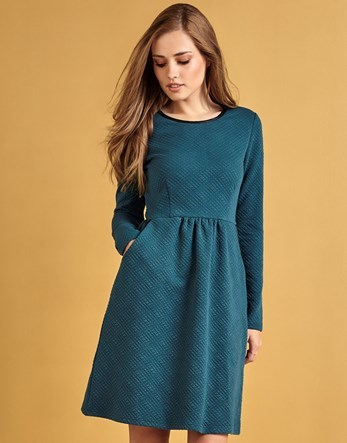 Textured Ponte Dress - pattern: plain; predominant colour: teal; occasions: casual; length: just above the knee; fit: fitted at waist & bust; style: fit & flare; fibres: polyester/polyamide - stretch; neckline: crew; sleeve length: long sleeve; sleeve style: standard; pattern type: fabric; texture group: jersey - stretchy/drapey; season: a/w 2016
