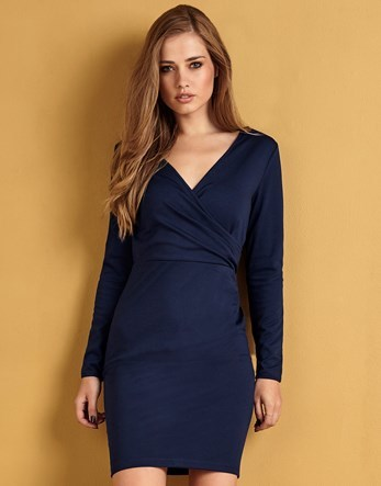 Ponte Wrap Dress - style: faux wrap/wrap; length: mid thigh; neckline: v-neck; fit: tight; pattern: plain; predominant colour: navy; occasions: evening; fibres: polyester/polyamide - stretch; sleeve length: long sleeve; sleeve style: standard; texture group: jersey - clingy; pattern type: fabric; season: a/w 2016; wardrobe: event
