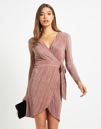 Crinkle Pleat Wrapover Dress - style: faux wrap/wrap; length: mini; neckline: low v-neck; hip detail: fitted at hip; occasions: evening, occasion; fit: body skimming; fibres: polyester/polyamide - 100%; sleeve length: long sleeve; sleeve style: standard; texture group: silky - light; pattern type: fabric; pattern: patterned/print; predominant colour: dusky pink; season: a/w 2016; wardrobe: event