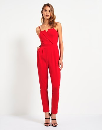 Tailored Detail Jumpsuit - length: standard; neckline: v-neck; sleeve style: spaghetti straps; pattern: plain; predominant colour: true red; occasions: evening; fit: body skimming; fibres: polyester/polyamide - stretch; sleeve length: sleeveless; style: jumpsuit; pattern type: fabric; texture group: woven light midweight; season: a/w 2016; wardrobe: event