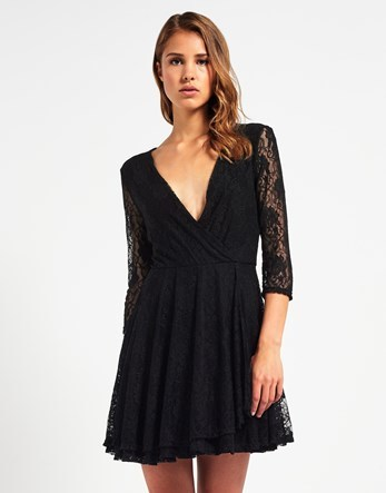 Lace V Neck Skater Dress - length: mid thigh; neckline: low v-neck; pattern: plain; sleeve style: sleeveless; predominant colour: black; occasions: evening; fit: fitted at waist & bust; style: fit & flare; fibres: viscose/rayon - stretch; sleeve length: sleeveless; pattern type: fabric; texture group: jersey - stretchy/drapey; season: a/w 2016; wardrobe: event