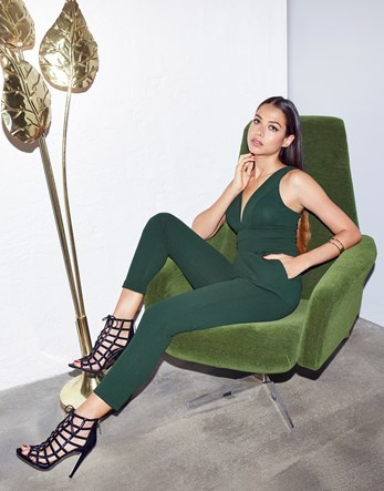 Sleeveless Plunge Jumpsuit - neckline: low v-neck; fit: tight; pattern: plain; sleeve style: sleeveless; predominant colour: emerald green; occasions: evening; length: calf length; fibres: polyester/polyamide - stretch; sleeve length: sleeveless; texture group: jersey - clingy; style: jumpsuit; pattern type: fabric; season: a/w 2016; wardrobe: event