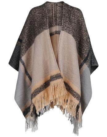 Poncho - length: below the bottom; collar: shawl/waterfall; fit: loose; style: poncho/blanket; secondary colour: stone; predominant colour: charcoal; occasions: casual; fibres: acrylic - 100%; sleeve length: 3/4 length; texture group: knits/crochet; collar break: low/open; pattern type: fabric; pattern: colourblock; embellishment: fringing; sleeve style: cape/poncho sleeve; multicoloured: multicoloured; season: a/w 2016; wardrobe: highlight