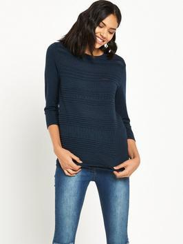 Pretty Stitch Front Crew - pattern: horizontal stripes; predominant colour: navy; occasions: casual; length: standard; style: top; fibres: polyester/polyamide - 100%; fit: body skimming; neckline: crew; sleeve length: 3/4 length; sleeve style: standard; texture group: knits/crochet; pattern type: knitted - other; wardrobe: basic; season: a/w 2016