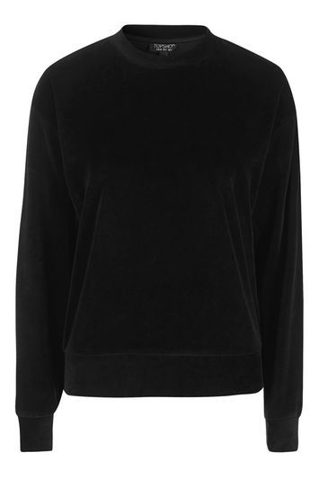 Neat Velvet Sweater - sleeve style: dolman/batwing; pattern: plain; style: sweat top; predominant colour: black; occasions: casual, creative work; length: standard; fibres: cotton - mix; fit: loose; neckline: crew; sleeve length: long sleeve; pattern type: fabric; texture group: velvet/fabrics with pile; trends: tomboy girl, velvet; season: a/w 2016; wardrobe: highlight
