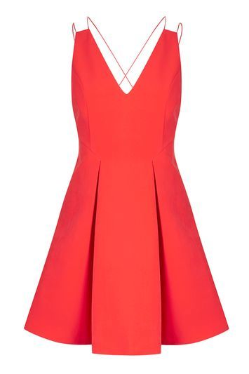 Strappy Bonded Mini Dress - length: mid thigh; neckline: v-neck; pattern: plain; sleeve style: sleeveless; style: full skirt; predominant colour: coral; occasions: evening; fit: fitted at waist & bust; fibres: polyester/polyamide - 100%; sleeve length: sleeveless; pattern type: fabric; texture group: woven light midweight; trends: pretty girl; season: a/w 2016; wardrobe: event
