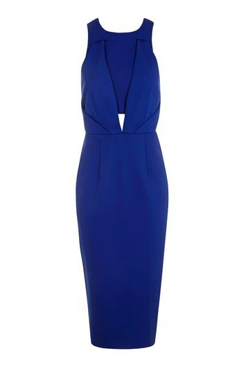 Structured Strappy Dress - style: shift; length: below the knee; fit: tailored/fitted; pattern: plain; sleeve style: sleeveless; predominant colour: royal blue; occasions: evening; fibres: polyester/polyamide - 100%; neckline: crew; waist detail: cut out detail; sleeve length: sleeveless; pattern type: fabric; texture group: jersey - stretchy/drapey; trends: glossy girl; season: a/w 2016