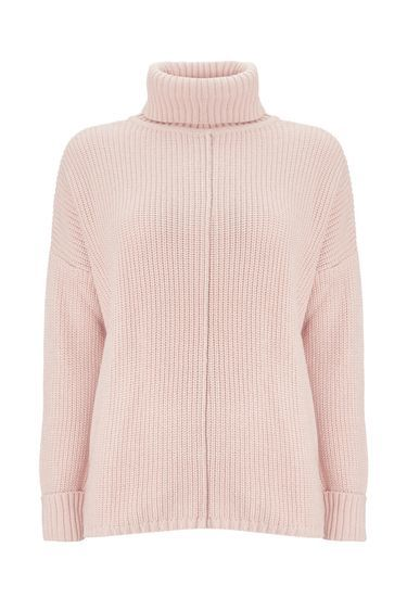 Pale Pink Polo Neck Jumper - pattern: plain; neckline: roll neck; style: standard; predominant colour: blush; occasions: casual; length: standard; fibres: cotton - mix; fit: slim fit; sleeve length: long sleeve; sleeve style: standard; texture group: knits/crochet; pattern type: knitted - fine stitch; pattern size: standard; wardrobe: basic; season: a/w 2016
