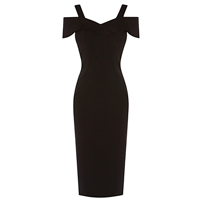 Tazmin Shift Dress, Black - style: shift; neckline: low v-neck; sleeve style: capped; fit: tailored/fitted; pattern: plain; predominant colour: black; occasions: evening, occasion; length: on the knee; fibres: polyester/polyamide - 100%; shoulder detail: cut out shoulder; sleeve length: short sleeve; texture group: crepes; pattern type: fabric; season: a/w 2016; wardrobe: event