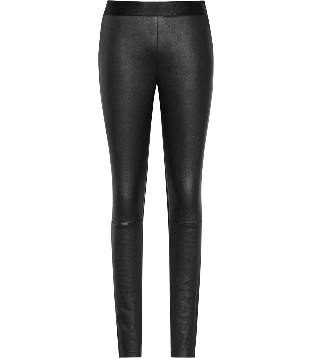 Knole Womens Leather And Ponte Trousers In Black - length: standard; pattern: plain; waist: mid/regular rise; predominant colour: black; occasions: evening, creative work; fibres: leather - 100%; texture group: leather; fit: skinny/tight leg; pattern type: fabric; style: standard; pattern size: standard (bottom); season: a/w 2016; wardrobe: highlight