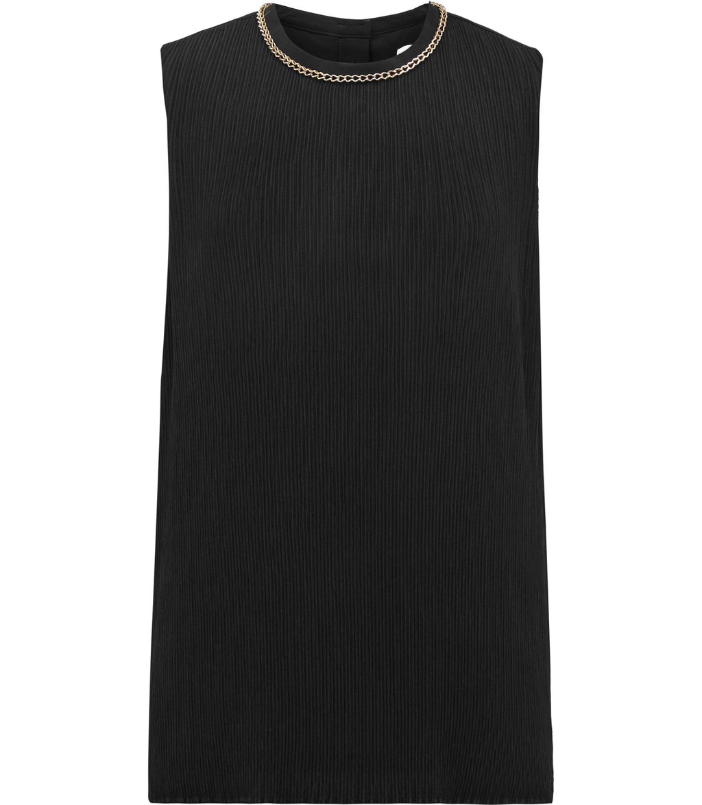 Bey Womens Plisse Top In Black - pattern: plain; sleeve style: sleeveless; predominant colour: black; occasions: evening; length: standard; style: top; fibres: polyester/polyamide - 100%; fit: body skimming; neckline: crew; sleeve length: sleeveless; pattern type: fabric; texture group: other - light to midweight; embellishment: chain/metal; season: a/w 2016; wardrobe: event; embellishment location: neck