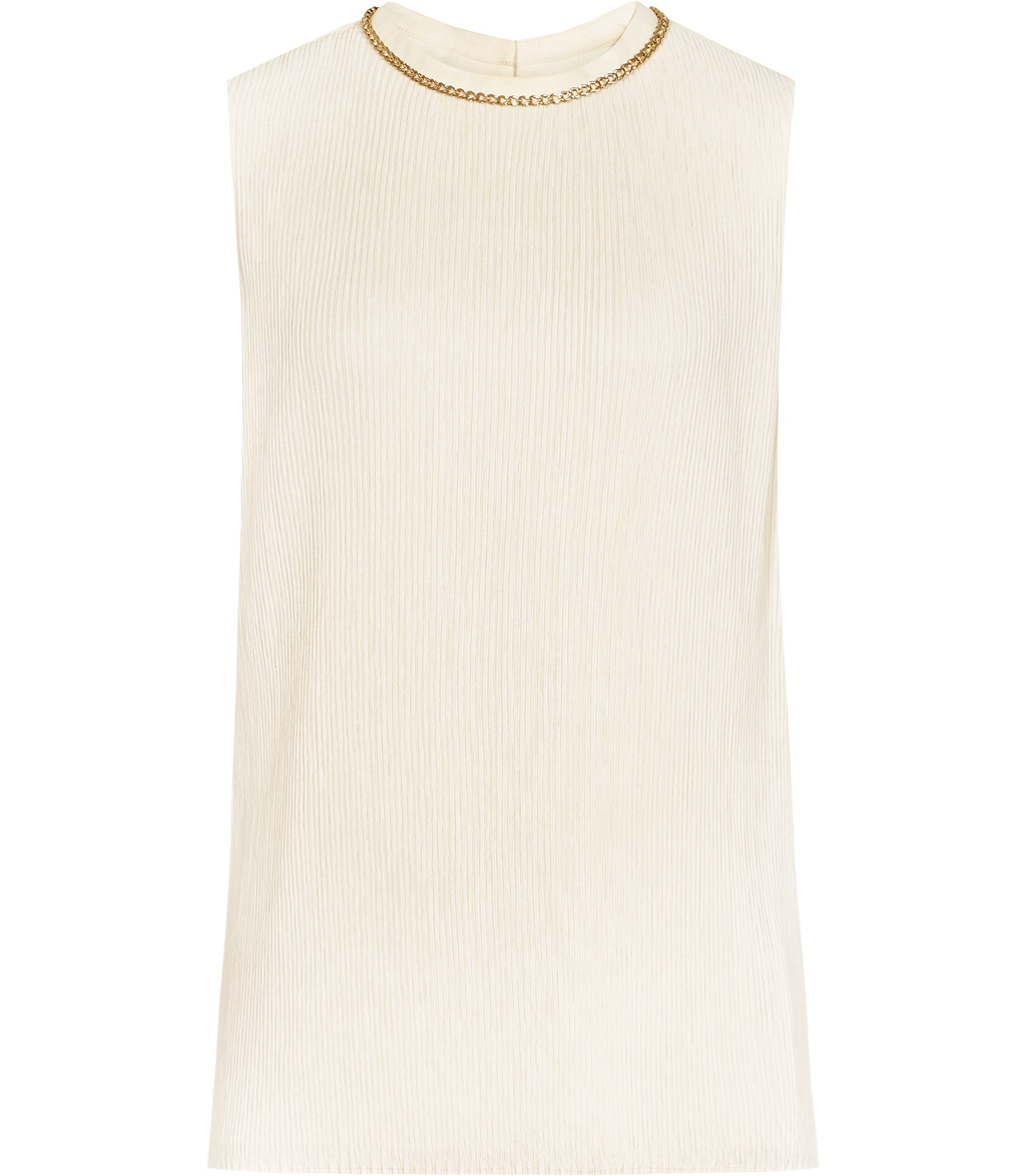 Bey Womens Plisse Top In Pink - pattern: plain; sleeve style: sleeveless; predominant colour: ivory/cream; secondary colour: gold; occasions: evening; length: standard; style: top; fibres: polyester/polyamide - 100%; fit: body skimming; neckline: crew; sleeve length: sleeveless; pattern type: fabric; texture group: other - light to midweight; embellishment: chain/metal; season: a/w 2016; wardrobe: event; embellishment location: neck
