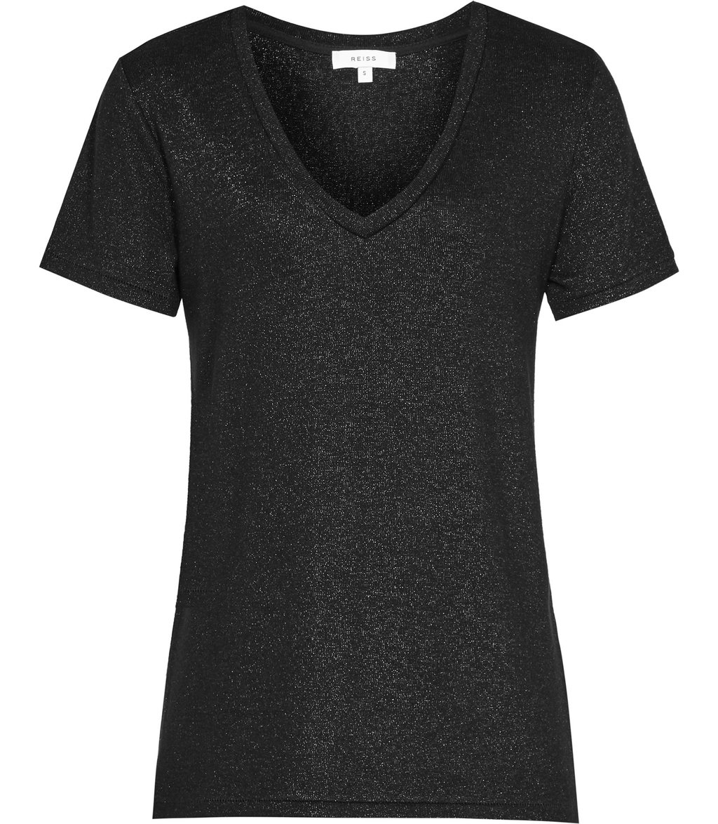 Leia Womens Metallic T Shirt In Black - neckline: v-neck; pattern: plain; style: t-shirt; predominant colour: black; occasions: casual; length: standard; fibres: viscose/rayon - stretch; fit: body skimming; sleeve length: short sleeve; sleeve style: standard; pattern type: fabric; texture group: jersey - stretchy/drapey; wardrobe: basic; season: a/w 2016