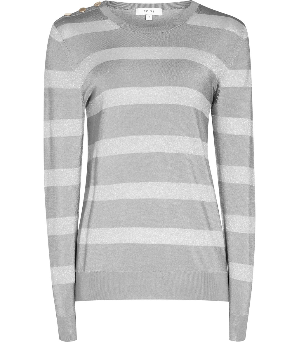 Githa Womens Metallic Stripe Jumper In Grey - pattern: horizontal stripes; style: standard; predominant colour: mid grey; secondary colour: light grey; occasions: casual; length: standard; fibres: viscose/rayon - stretch; fit: standard fit; neckline: crew; sleeve length: long sleeve; sleeve style: standard; texture group: knits/crochet; pattern type: knitted - other; multicoloured: multicoloured; season: a/w 2016; wardrobe: highlight