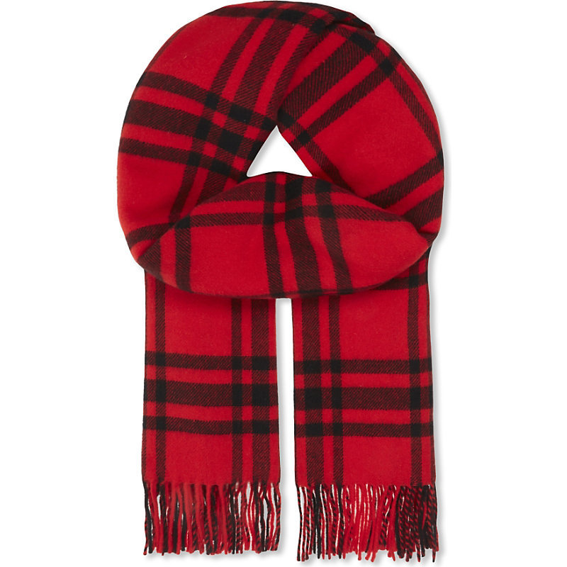 Checked Wool Scarf, Women's, Red/Black - predominant colour: true red; secondary colour: black; occasions: casual, creative work; type of pattern: light; style: regular; size: standard; material: knits; embellishment: fringing; pattern: checked/gingham; season: a/w 2016; wardrobe: highlight