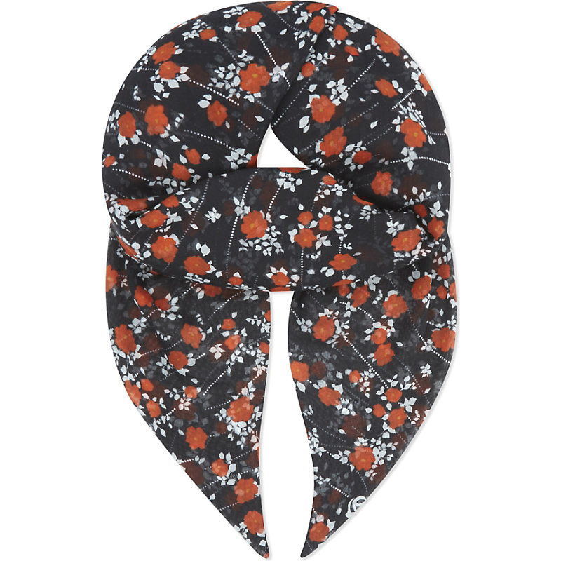 Dotted Flower Print Scarf, Women's, Black Red - secondary colour: true red; predominant colour: navy; occasions: casual, creative work; type of pattern: light; style: square; size: standard; material: fabric; pattern: florals; season: a/w 2016; wardrobe: highlight