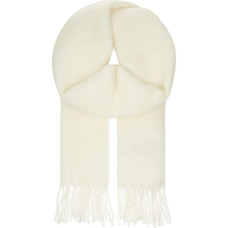 Emilia Wool Blend Scarf, Women's, Blanc Casse - predominant colour: ivory/cream; occasions: casual, creative work; type of pattern: standard; style: regular; size: standard; embellishment: fringing; pattern: plain; material: cashmere; wardrobe: investment; season: a/w 2016