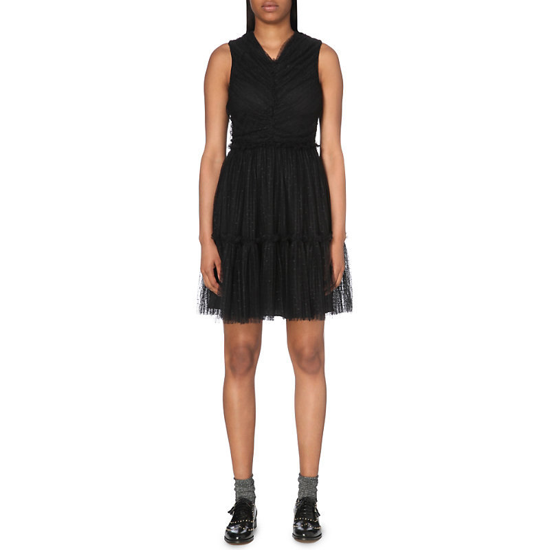 Remix Polka Dot Tulle Dress, Women's, Noir - neckline: v-neck; pattern: plain; sleeve style: sleeveless; predominant colour: black; occasions: evening; length: just above the knee; fit: fitted at waist & bust; style: fit & flare; fibres: polyester/polyamide - 100%; sleeve length: sleeveless; texture group: sheer fabrics/chiffon/organza etc.; pattern type: fabric; season: a/w 2016; wardrobe: event