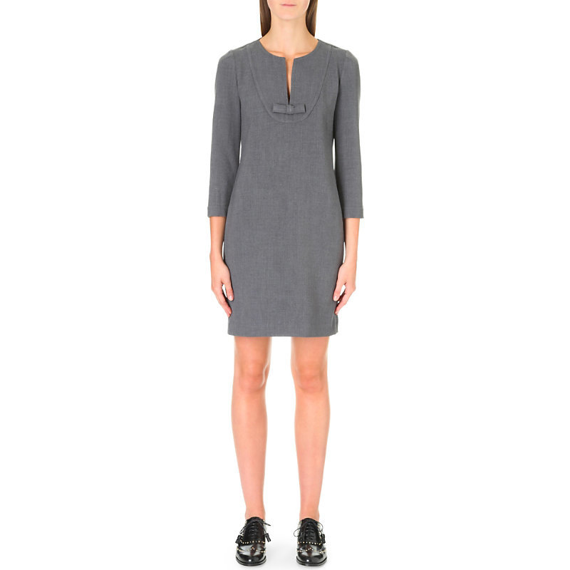 Ringo Stretch Crepe Dress, Women's, Light Gray/Dark Blue/Light Blue - style: shift; neckline: v-neck; pattern: plain; predominant colour: mid grey; occasions: work; length: just above the knee; fit: body skimming; fibres: polyester/polyamide - stretch; sleeve length: 3/4 length; sleeve style: standard; texture group: crepes; pattern type: fabric; season: a/w 2016
